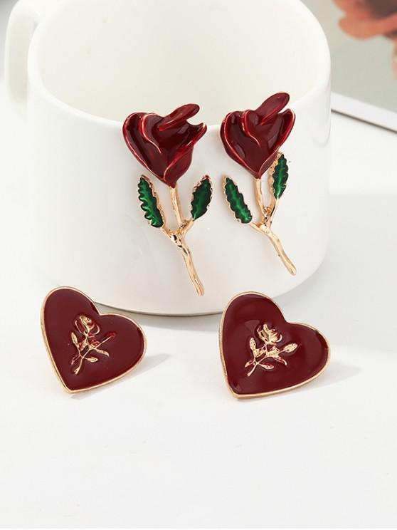 online Rose and Heart Shape Earrings Set - RED