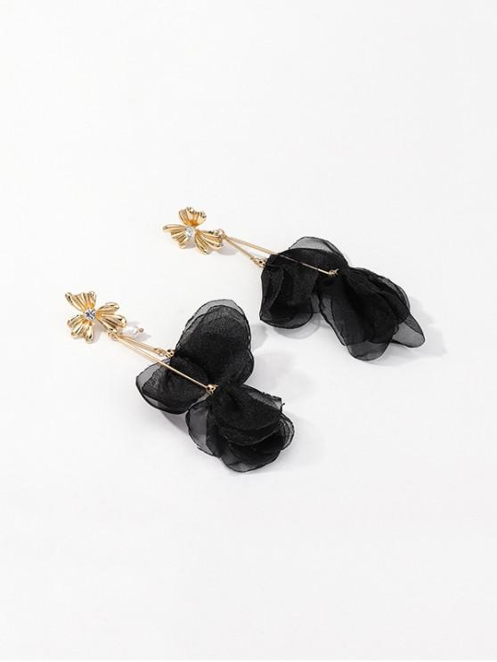 best Fabric Flower Petals Long Faux Pearl Earrings - BLACK