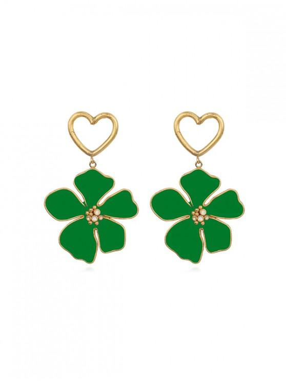 chic Hollow Out Heart Floral Dangle Earrings - DEEP GREEN