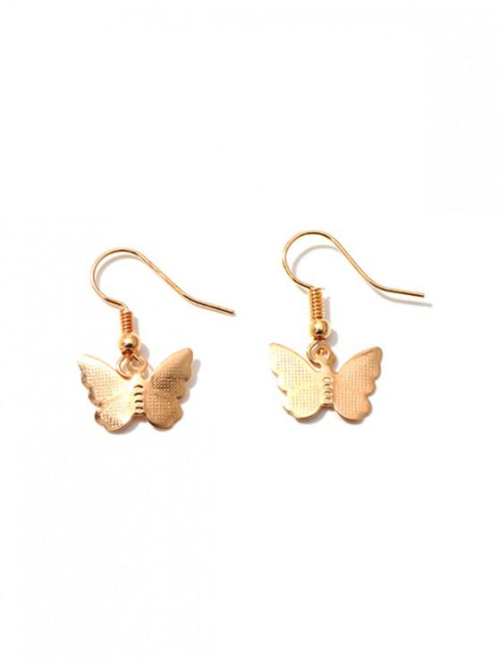 unique Pair of Butterfly Shape Drop Earrings - GOLD