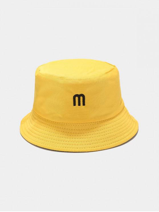 shop M Embroidery Reversible Bucket Hat - YELLOW