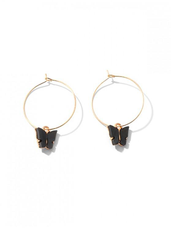 fancy Acrylic Butterfly Hoop Earrings - BLACK