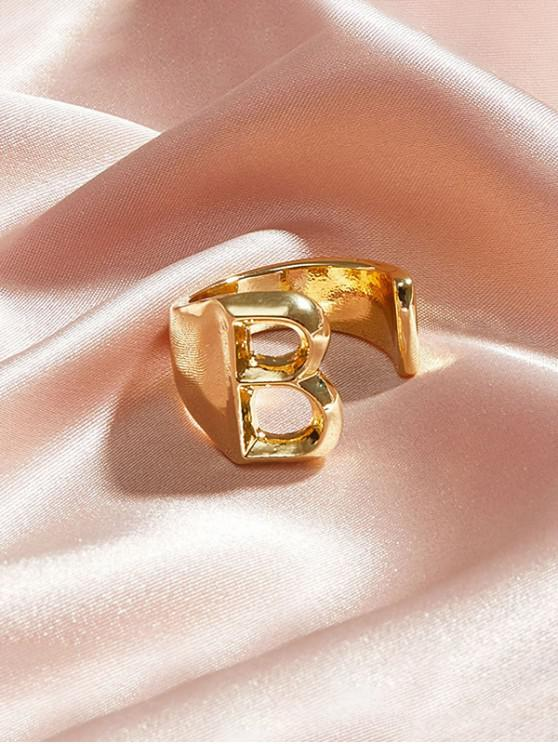 best Hollow Out Initial Open Ring - GOLD B