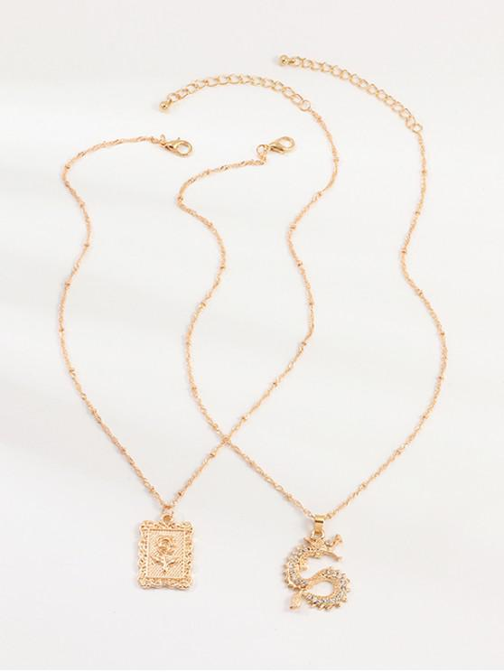 shop 2Pcs Rose Dragon Pendant Necklaces Set - GOLD