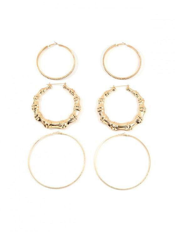 trendy 3Pairs Bamboo Rhinestone Exaggerated Hoop Earrings - GOLD