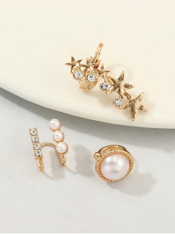 latest 3Pcs Stars Faux Pearl Rhinestone Cuff Earrings Set - GOLD