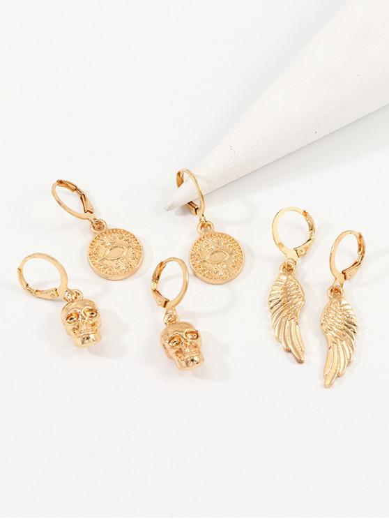 ladies 3Pairs Skull Wings Earrings Set - GOLD