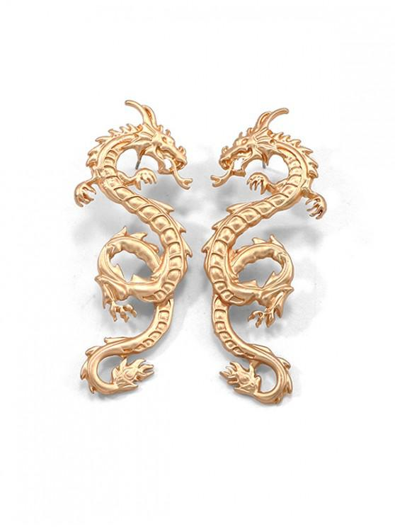 women's Carved Dragon Stud Earrings - GOLD