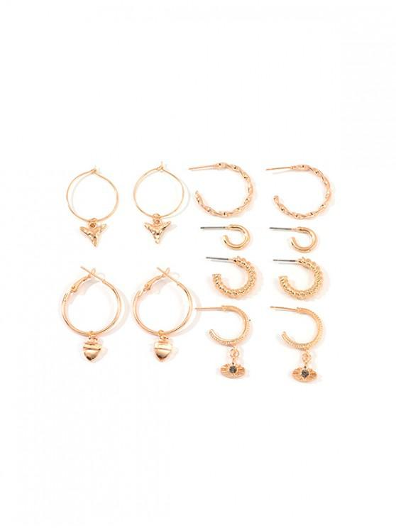 outfits 6Pairs Geometry C-shaped Twist Earrings Set - GOLD