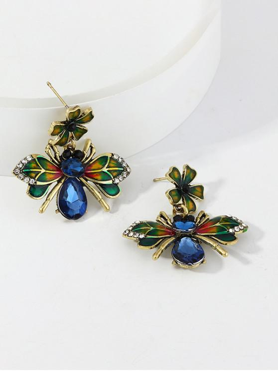 outfit Glazed Flower Bee Exaggerated Earrings - GOLD