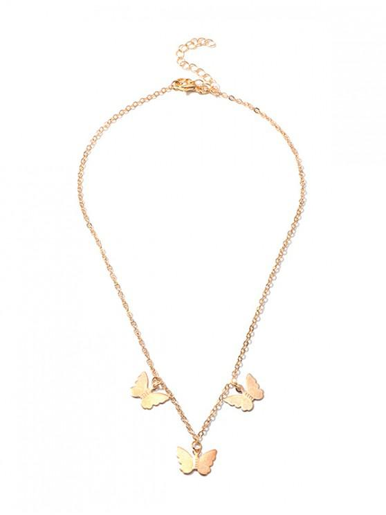 Butterfly Pendant Chain Necklace - ذهب