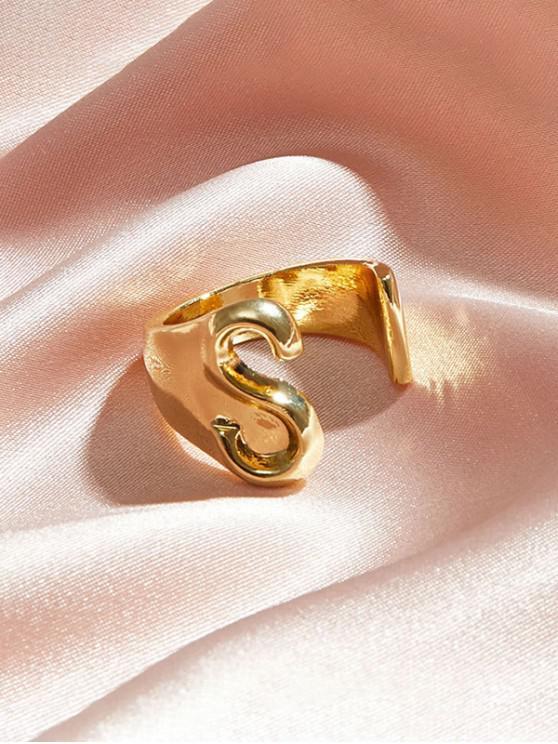 Hollow Out inițială Deschideți inel - Auriu S