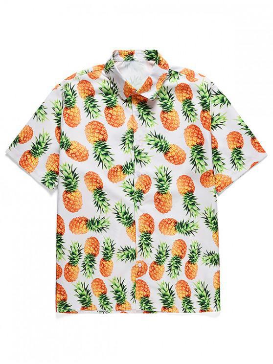 womens Pineapple Printed Button Short Sleeves Shirt - WHITE 2XL