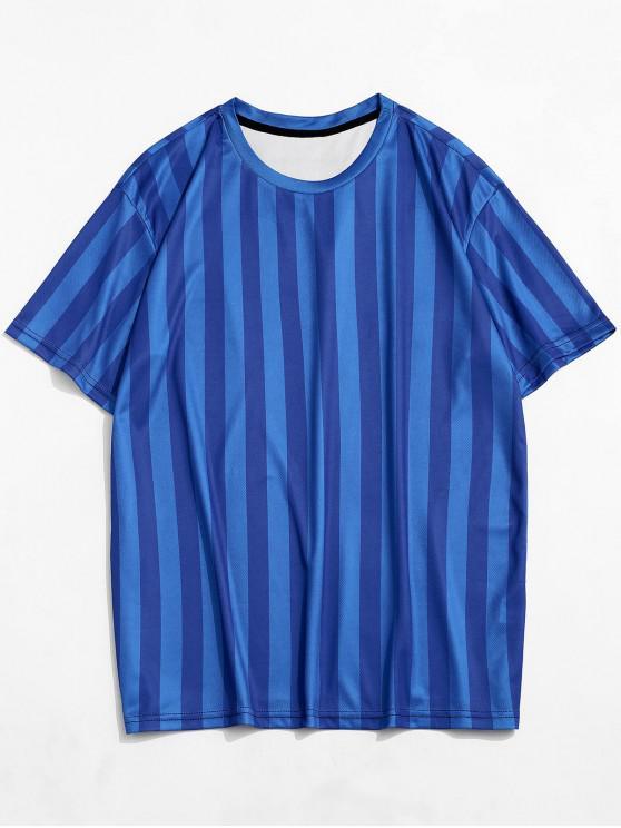 Camiseta Casual de Rayas con Estampado con Mangas Cortas - Azul de Arándanos 2XL