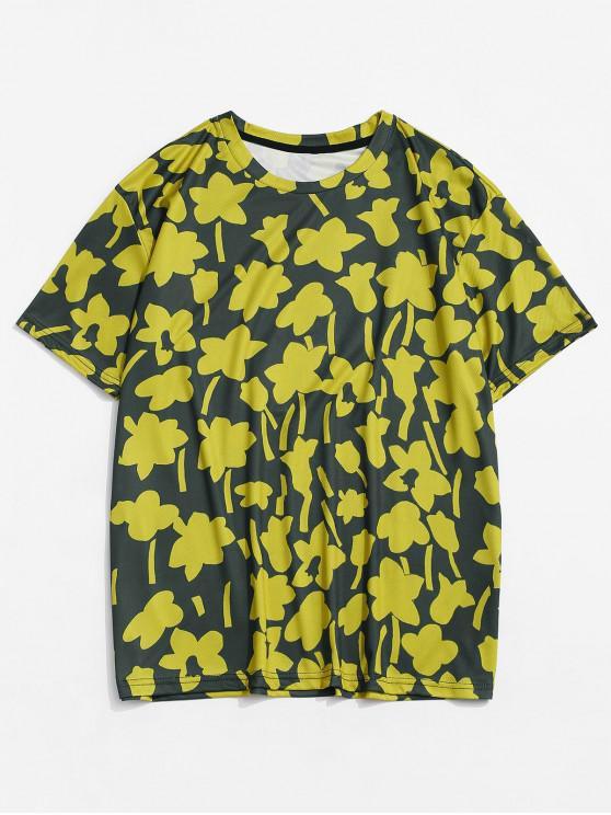 Camiseta Casual de Flores con Cuello Redondo con Mangas Cortas - Amarillo de Sol  XL