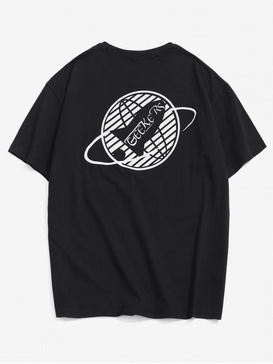 Fluorescence Graphic Print Basic T-shirt - أسود M