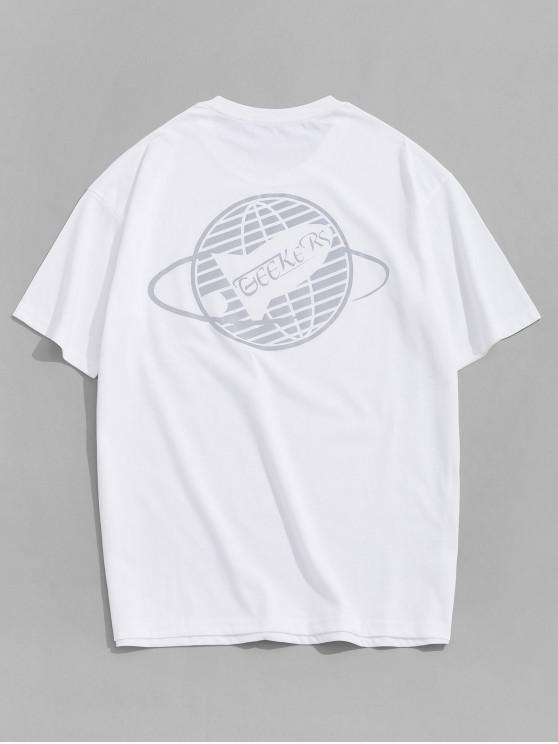 Camiseta Básica con Estampado de Árboles - Blanco XL