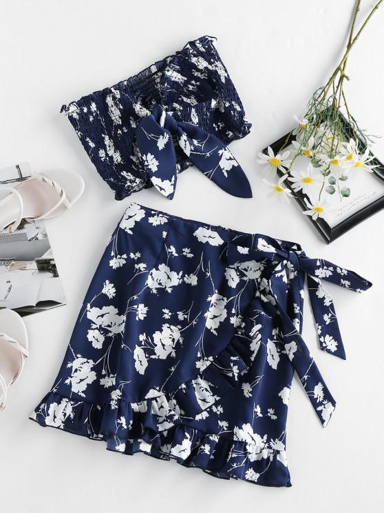 women ZAFUL Flower Tied Smocked Ruffle Bandeau Skirt Set - CADETBLUE M