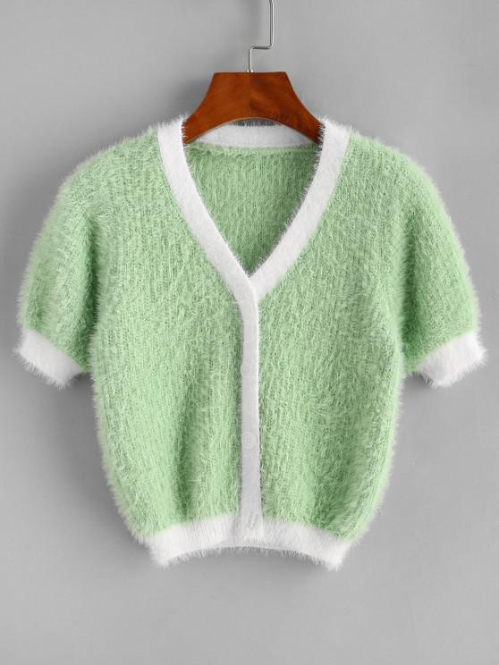 Pull Court Fourré Contrasté en Tricot - Vert Taille Unique