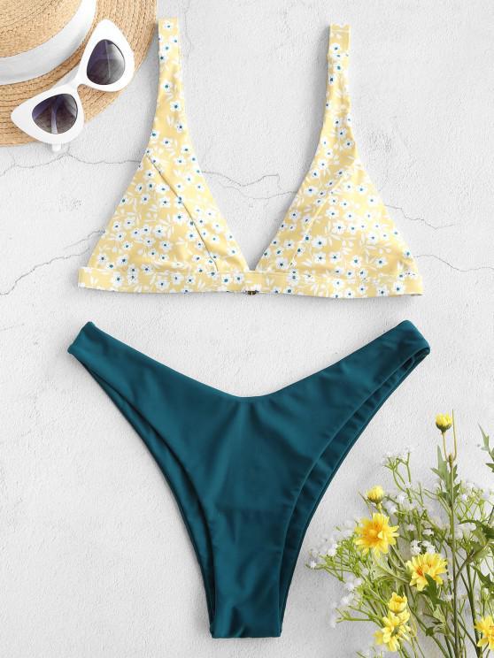 outfits ZAFUL Ditsy Print Plunging High Leg Bikini Swimwear - YELLOW M