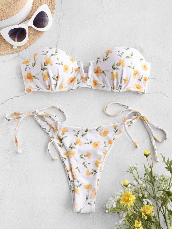ZAFUL Maillot de Bain Bikini Fleuri Noué à CôtéCranté enV - Blanc S