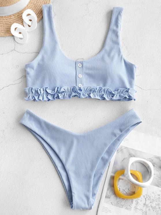 ZAFUL Frilled Trim Ribbed Bikini Swimwear - ضوء السماء الزرقاء M