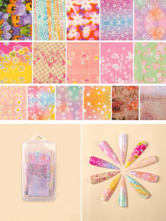 chic Flowers Pattern Nail Beauty Transfer Papers Set - #007