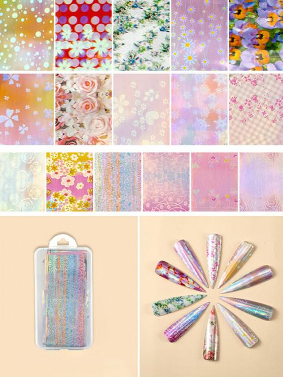outfits Flowers Pattern Nail Beauty Transfer Papers Set - #001