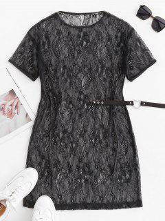 Mini Robe Tunique Fleur En Dentelle Transparente - Noir M