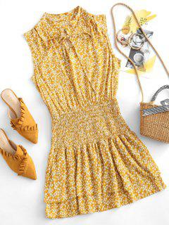 Robe Superposée Fleurie Plissée Nouée à Volants - Orange D'or M