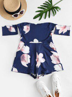 Back Zipper Floral Off Shoulder Romper - Midnight Blue S