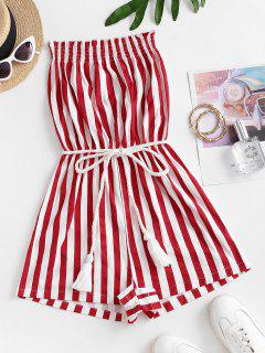 Stripes Belted Tassels Strapless Romper - Multi-m Xl