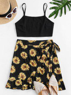 Sunflower Print Ruffle Bowknot Skirt Set - Black S
