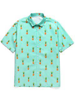 Pineapple Print Button Short Sleeves Shirt - Medium Turquoise 2xl