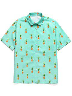 Pineapple Print Button Short Sleeves Shirt - Medium Turquoise L