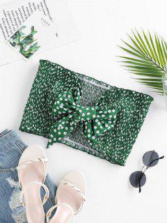 ZAFUL Smocked Ditsy Print Ruffle Bowknot Crop Tube Top - Sea Turtle Green M
