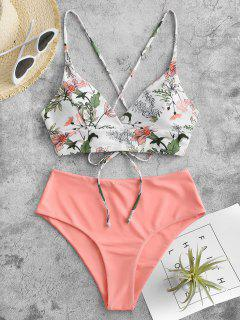 ZAFUL Cabbage Mit Mix And Match Tankini Badebekleidung - Leichter Salm S