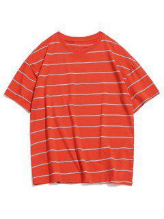 T-shirt Décontracté Motif De Rayure à Col Rond - Orange Citrouille Xl