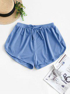 ZAFUL Tie Ribbed Swim Bottom - Silk Blue L