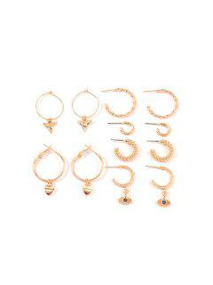 6Pairs Geometry C-shaped Twist Earrings Set - Gold