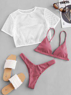ZAFUL Ribbed High Leg Fishnet Three Piece Swimsuit - Blush Red S