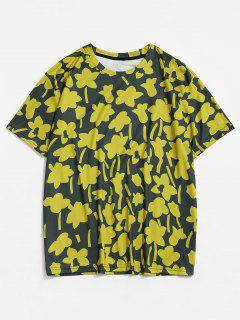 T-shirt Décontracté Floral Imprimé à Col Rond - Jaune Soleil Xl