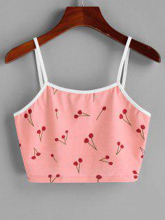 ZAFUL Cherry Print Cami Crop Top - Light Pink L