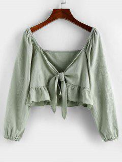 ZAFUL Flounce Tie Front Crop Blouse - Fern Green Xl