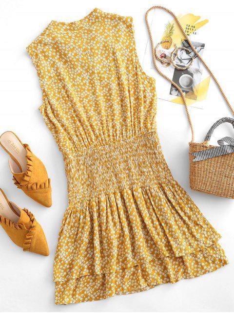 Gebundenes Bogen Kittel Geschichtetes Ditsy Blumen Kleid - Orange Gold L Mobile