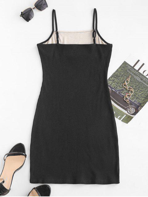 Geripptes Bodycon Kleid mit Spitzeneinsatz - Schwarz M Mobile