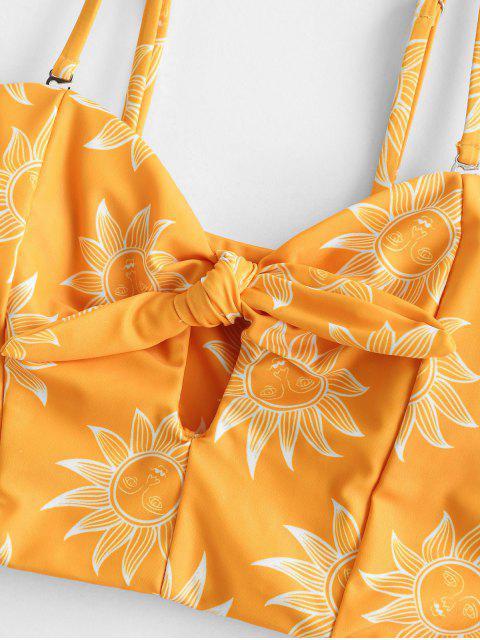 trendy ZAFUL Knot Sunflower Sun Stars Moon Tankini Swimwear - BEE YELLOW M Mobile