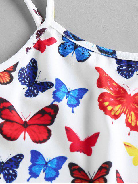 ZAFUL Haut à Bretelle Court Papillon Imprimé - Blanc Lait XL Mobile