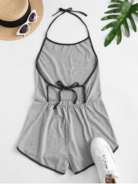 trendy Halter Tie Back Ringer Romper - GRAY CLOUD S Mobile