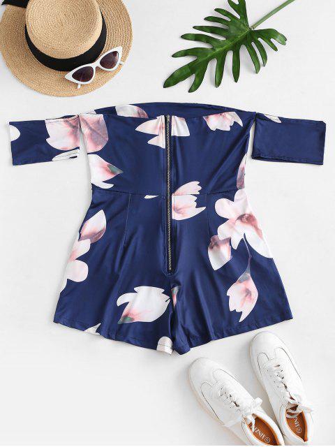Mono Femenino Floral con Cremallera en Espalda de Hombro Descubierto - Azul de Medianoche XL Mobile